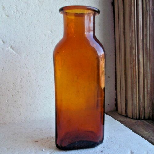 PONTILED AMBER DIP MOLD BLOWN SQUARE UTILITY BOTTLE CRUDE FLARED LIP BUBBLES