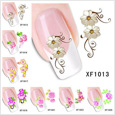 (Nail Art Water Transfer Stickers Flower Butterfly Cat Decals Tips Decoration)