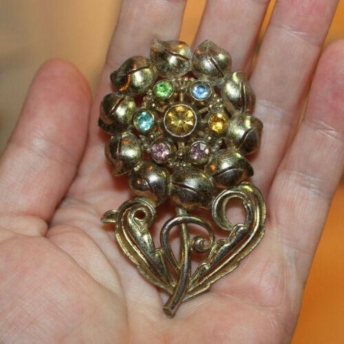 Vintage Little Nemo LN/25 Multicolor Stone Flower Gold Toned Brooch Pin