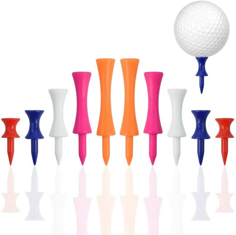 50/100 Pack Castle Golf Tees Plastic Step Down Height Control 6 Colors