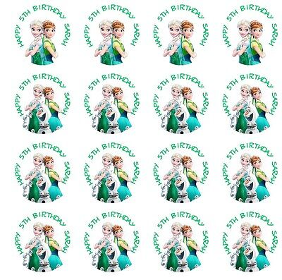 30 Frozen Fever Stickers Lollipop Labels Party Favors 1 1/2 inch Personalize Any](Personalized Labels)