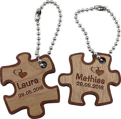 """Sehr schöner Schlüsselanhänger""""Partner Puzzle""""aus Kirschbaum-Holz inkl. Gravur 1"""