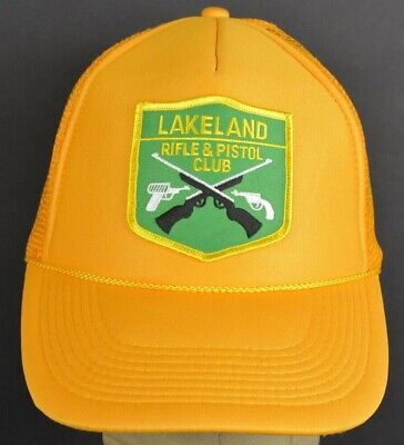 Lakeland Hat (Yellow Lakeland Rifle & Pistol Club Mesh Trucker baseball hat cap Snapback)