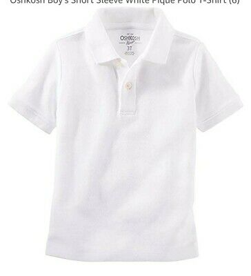 OshKosh Little Boys' White SHORT Sleeve Uniform Polo Shirt - NWT 5T $18 retail