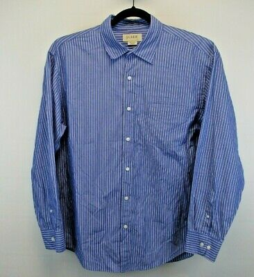 J. Crew Long Sleeve Men's Large Button Up Shirt Blue w/White