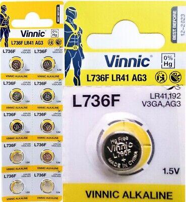 Pila Vinnic L736F LR41 AG3 - Alcalina - Calculadoras Relojes - Pack...