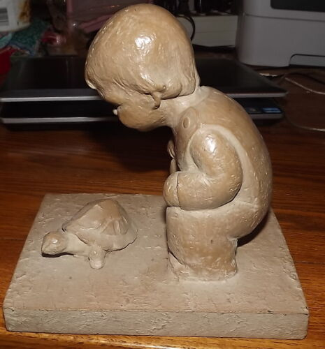 Haeger Pottery Strubel ?Boy with Turtle statue figure