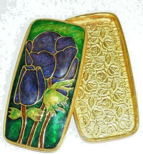 EDGAR BEREBI Enameled Cloisonne METAL FLOWERS Trinket Box BLACK TULIP Flowers