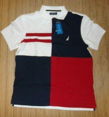 NWT MENS  NAUTICA S/S Polo Shirt~NAVY/WHT~SZ MED