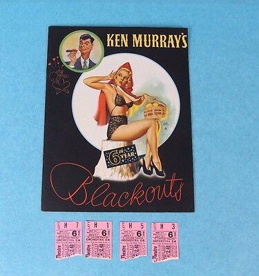 VTG 1947 KEN MURRAY'S BLACKOUTS PROGRAM EARL MORAN PIN-UP COVER W/TICKET STUBS