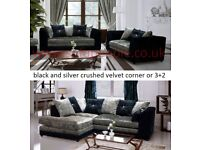 Silver and Black Crushed Velvet corner or 3+2 sofa, many other sofas and beds on offer, call now
