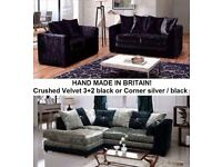 crushed velvet black 3plus2 sofa or black silver corner sofas with lots more to choose from call now