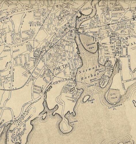 Norwalk Winnipauk Cranbury Rowayton CT 1942 Map with Homeowners Names Shown