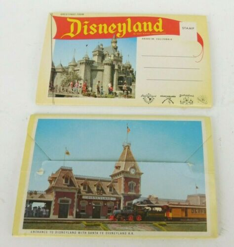 Set of 2 Vintage 1950s Souvenir Disneyland The Magic Kingdom Postcard Booklets