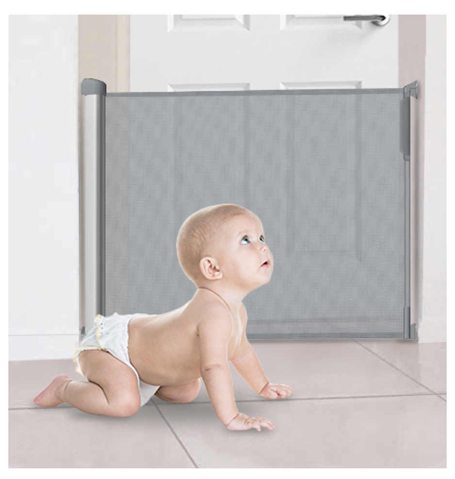 Callowesse Air Retractable Stair Gate 0-130cm 110cm Baby Safety Gate – Grey