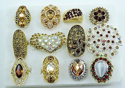 12 PC WHOLESALE Lot Brown CHIC COCKTAIL COSTUME Fashion Jewelry RINGS#BR1