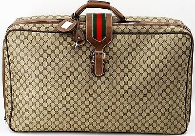 Auth Gucci Vintage Web Soft Case Suitcase Beige,Beige Brown Old Gucci
