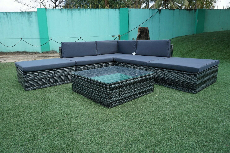 Garden Furniture - New Rattan Outdoor Garden Furniture Patio Corner Sofa Set 6 pcs Wicker Units