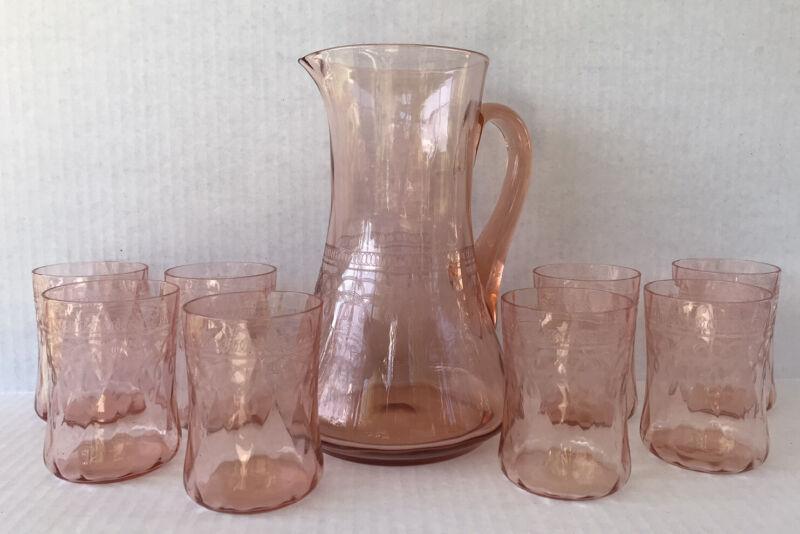 Antique Heisey Pink Depression Glass Lemonade Set Trefoil Needle Etched 9 Pieces