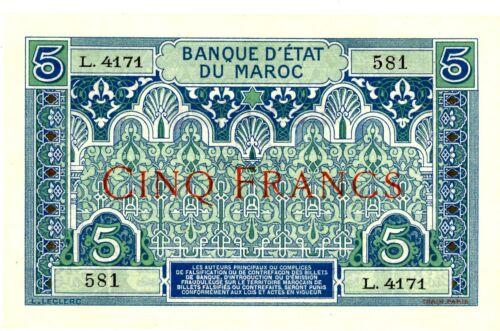 Morocco ... P-9 ... 5 Francs ... ND(1924) ... Choice*AU+*.