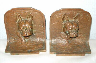 Fabulous Antique Bronze French Bulldog Or Boston Terrier Dog Bookends