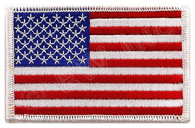 AMERICAN FLAG EMBROIDERED PATCH iron-on WHITE BORDER US UNITED STATES (American Patch)