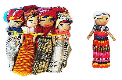 "12x Large Guatemalan Worry Dolls - 2"" Trouble Doll - Mayan Hand Made - Bulk NEW!"