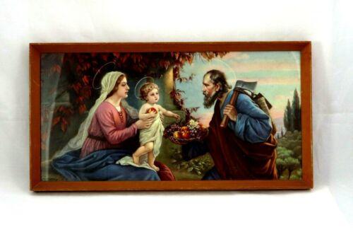 Vintage Giovanni Religious Mid Century Framed Art Print Baby Jesus,Mary,Joseph