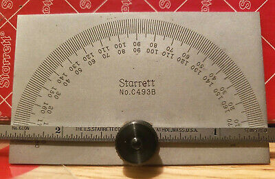 Starrett Protractor C493b Mint Unused In Box 0-180 Degree 6 Ruler Rule