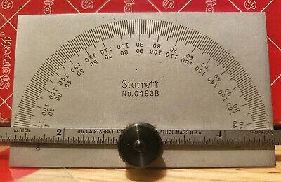 Starrett Protractor C493b Mint Unused In Box 0-180 Degree 6 Ruler Rule