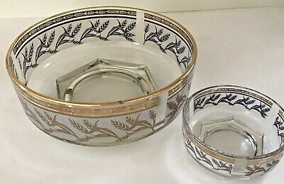 Glass Dining Kitchen Salad Bowls Gold Trim Gold Leaf Frosted Large and Small