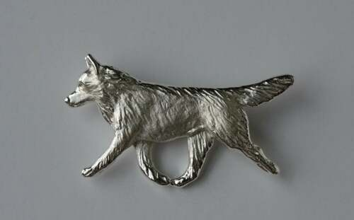 Large Sterling Silver Siberian Husky Moving Study Brooch