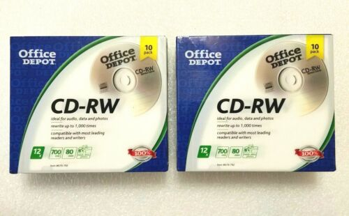 2x Office Depot CD-RW Rewritable CD, Blank Media 10 pack 679-792 - 20 Disc Lot