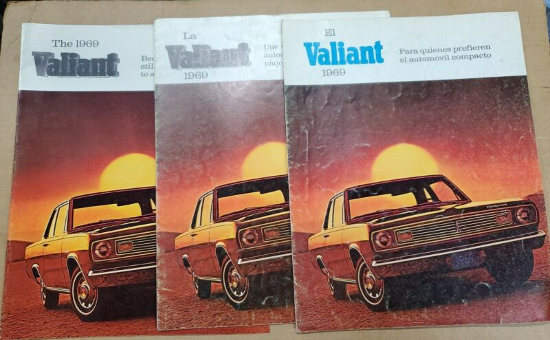1969 Plymouth Valiant English/French/Spanish brochure lot of 3/Chrysler Canada