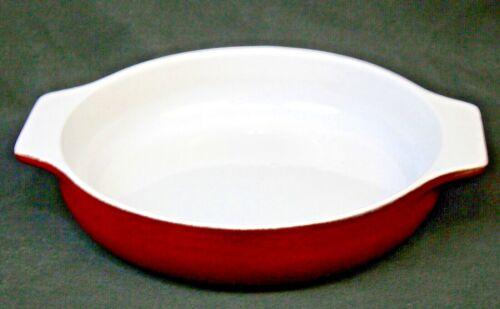 Emile Henry France Burgundy/White Ceramic Round Casserole Bakeware