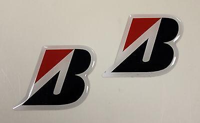 BRIDGESTONE 'B' stickers - decals 2 x  HIGH Gloss Gel Finish 48mm - Motorcycling