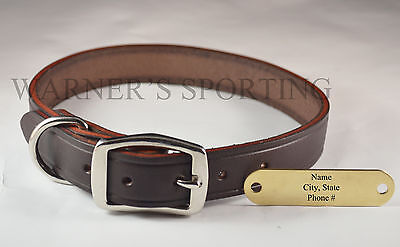 "WARNER CUMBERLAND LEATHER DOG COLLAR  DARK BROWN  1"" X 23"" WITH FREE BRASS TAG on Rummage"