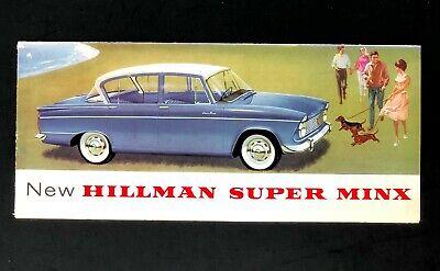 Vintage 1962 Hillman Super Minx Sales Brochure Rootes UK Car Artwork Poster