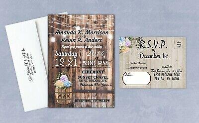 Rustic Barn Wedding (Hydrangea Wedding Invitations Rustic Country Farm Barn Personalized and)