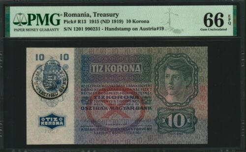 Romania Stamp on Austria 10 Kronen 1915 Gem Uncirculated PMG 66 RARE