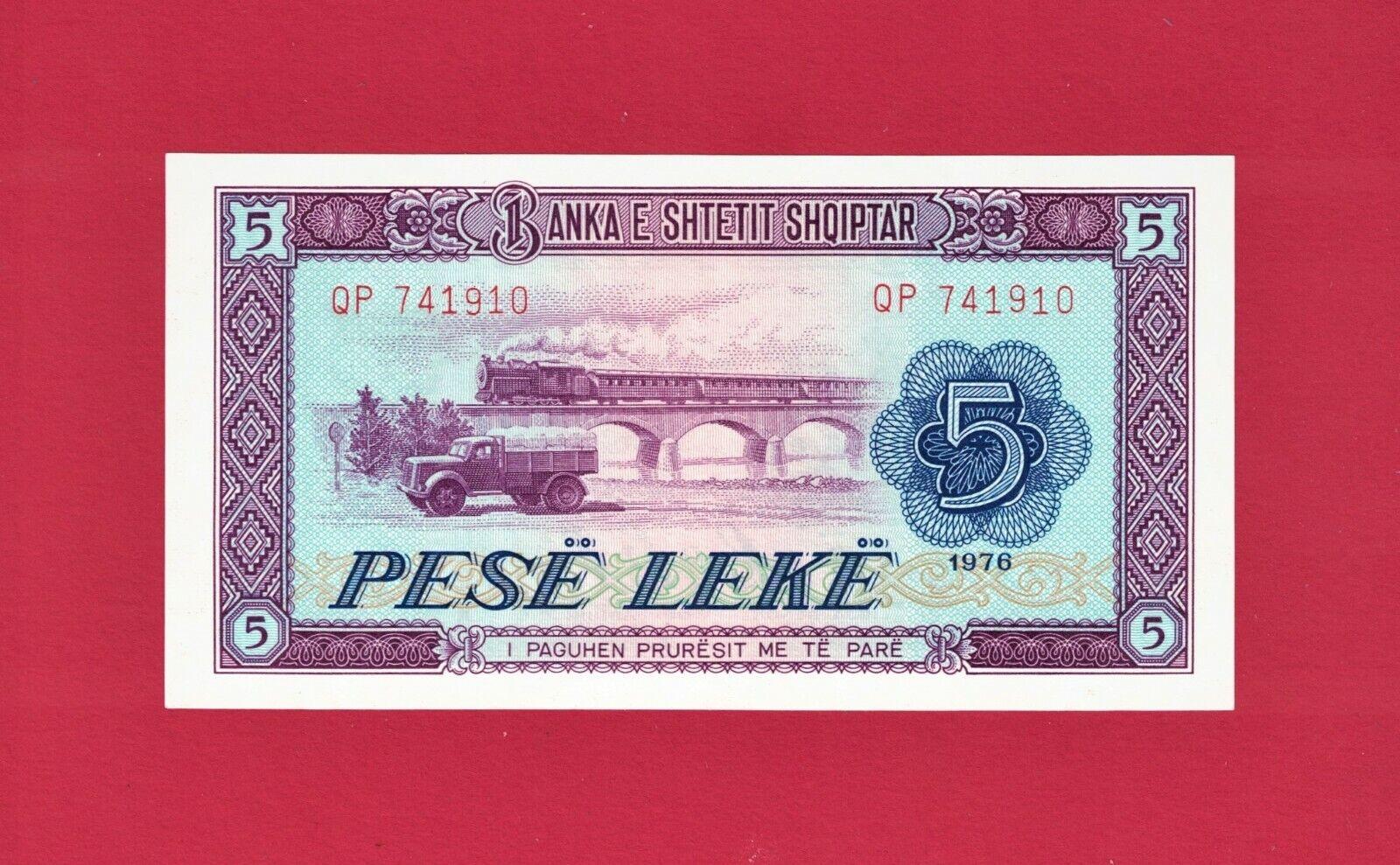 5 PESE LEKE 1976 - ALBANIA UNC NOTE - Train Truck & Ship - (P-42a) PRINTER: CBPM