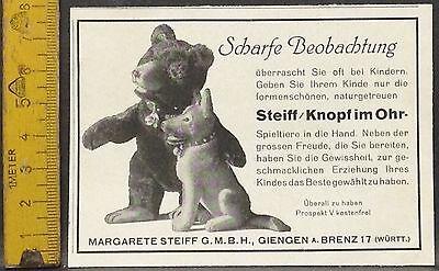 Steiff,Knopf im Ohr,Teddy und Hund,Giengen,orig.Anzeige 1928
