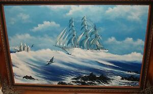 KEMP-SAILING-SHIPS-ON-THE-HIGH-SEAS-ORIGINAL-OIL-ON-CANVAS-SEASCAPE-PAINTING
