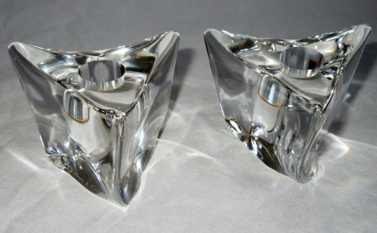 Daum France Art Glass Modernist Candle Holders Hand Made Signed