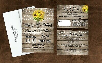 Sunflower Wedding Invitations Rustic Personalized With Envelopes and RSVP - Wedding Invitations With Rsvp