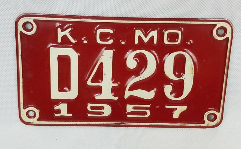 "1957 Missouri motorcycle Dealer License Plate Tag Original 6.5"" metal"