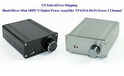 Digital Power Amplifier - Black/Sliver Mini 100W*2 Digital Power Amplifier TPA3116 Hi-Fi Stereo 2 Channel