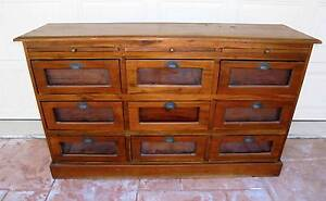 Rustic Wooden 9 Drawer Sideboard/Buffet/Display Cabinet Mahogany Rothwell Redcliffe Area Preview