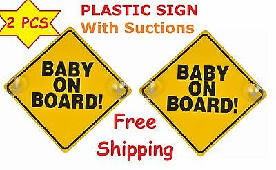 Yellow Reflective Baby On Board Car Window Suction Cup Warning Sign Lot of 2
