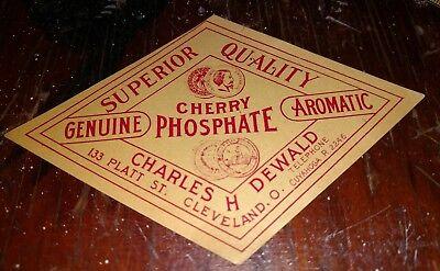Vintage Cherry Phosphate Label 1900-1920 original Charles H. Dewald Cleveland